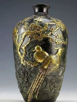 Wholesale Cheap Z Chinese Collection Bronze Statues Gold plating Flower Bird Vase pot cm
