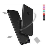 Silicone apple iphone gros Avis-IPhone7 ultra mince givré cas TPU pour iPhone 7 plus doux doux mat couleur Candy avec brillant Liine dos peau couverture DHL gros