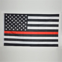 Wholesale Thin Red Line Firefighter respect and honor First Responder Bomber Flag x5
