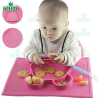 anti slip plates - BPA free food grade baby silicone placemat plate in one baby plate set anti slip one piece silicone placemat for kids S
