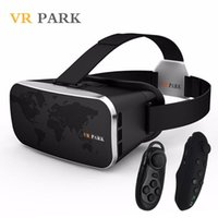 Wholesale 2016 NEW VR Park V3 Mobile D Movie Glasses Box Helmet D Virtual Reality Goggles Cardboard Smart Bluetooth Remote Controller