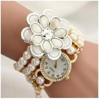 Precio de Gifts-Relojes de la pulsera de la perla de la flor de DHL Reloj femenino del reloj de la mujer del reloj del nuevo de la mujer de las señoras Reloj de lujo de los relojes de los diamantes del rhinestone del cuarzo de la manera