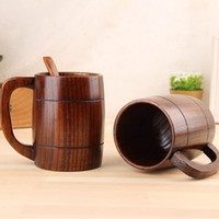 beer barrel bar - 400ml oz Handmade Barrel Juice Beer Mugs Wooden Tea Cups Wood Mug Drink Cup Water Tumbler Eco friendly Bar Drinkware ZA1650