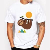 Cheap New Harajuku Keep Calm and live slow Printed T-shirt Men Sloth Design tee shirt Funny Cool short sleeve tops mens tshirt