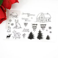 Rubber animal rubber stamps - Fairy Tales small cabin cute animals Trees clear Transparent Stamp DIY Scrapbooking Card Making Christmas Decoration Supplies
