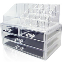 acrylic storage case - Acrylic Cosmetic Makeup Organizer Jewelry Display Boxes Bathroom Storage Case Pieces Set W Large Drawers