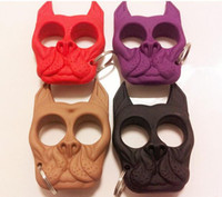 Wholesale 50pcs Multi Color Brutus Bulldog Protection Keychain Defense Key Chain Dog Skull Shaped Personal Security Women Self defense Keychain