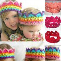 Wholesale New born Cute Baby Girls Boy Knit Crown Headband Cap Kids Birthday Crochet Hat