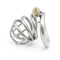 Wholesale 304 stainless steel Cock Cage Chastity Device with Stealth lock curved ring Sex Toy CD070