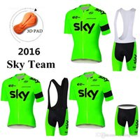Cheap Fluorescence Green Sky Team 2016 Cycling Jerseys Tour De France Short Sleeves Body Fit Compressed Size XS-4XL Bike Wear