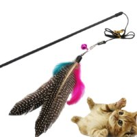 Wholesale New Pet Teaser Toy Cats Roped Dogs Bungee Bell Mouse Pole Feather Wangler Wand