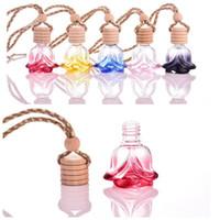 Wholesale colorful ML crystal shape hanging car perfume glass bottle hanging decoration bottle car hanging accessories perfume bottle JF
