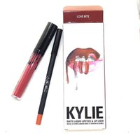 Wholesale InStock KYLIE JENNER LIP KIT liner Kylie Lipliner pencil Velvetine Liquid Matte Lipstick in Red Velvet Makeup Lip Gloss Make Up colors