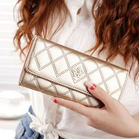 Wholesale Ms latest models high quality long section artificial leather tri fold multifunction diamond lattice women s wallets purse HG3Z