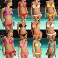 Pure Colour beach suits - Sexy Bikini Swimsuit Swimwear Women Bikini Set Push Up Bathing Suit Biquini Maillot De Bain Femme Beach Swim Wear Swimsuit