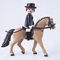 Wholesale Plastic Puzzle Black Suit Horseman Yellow Horse Equestrianism Performance Scene Toys