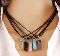 Wholesale 20PC Mixed send Silver necklace stainless steel jewelry natural stone pendant statement to circle necklace rose quartz crystal necklace