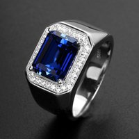 Wholesale Mens Sapphire Ring with Side Diamonds Blue Corundum Sterling Silver Open End Ring Plated Platinum Ring Tanzania color
