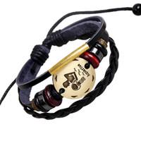 aquarius personality - Bracelets Zodiac Sings Fashion Jewelry Alloy Aquarius Leather Bracelet Women s Casual Personality beaded Vintage Punk Bracelet B0206