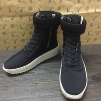 Wholesale 2016 New Arrive FEAR OF GOD fog Military High Top boot Sneakers Black Suede Gum Grey fog Boot Fog Kanye Nylon running shoes