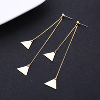 Stud Metal gold New Arrival Long Chain Dangling Triangle Pendant Earrings for Women Fashion Jewelry Earrings Cheap Free Shipping Wholesale