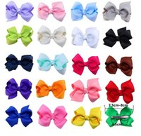 Wholesale Ribbon Bows with Clip solid color bows clip baby hair bow boutique hair accessories girls hair clips