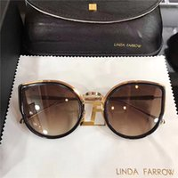 Fashion Woman UV400 2017 new sunglasses linda farrow plastic with metal frame fashion cat model lady sunglasses in DHgate free shipping