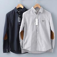 Wholesale Fashion Casual cotton men Oxford shirt button up square collar Elbow patch shirt for men