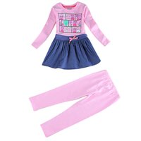 bank skirt - Novatx spring Children suit Coat printing Piggy bank Hem Denim fabric Leggings for pink Hem fold