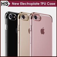 apple bottom case - New Electroplate Transparent TPU Case For iPhone S Plus Top Bottom Electroplating Soft Clear Back Skin Phone Cover Support Mix model