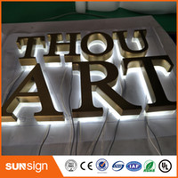 backlit led channel letter - Stainless steel Backlit signage letters LED D illuminated Channel letters signs for Advertising customized