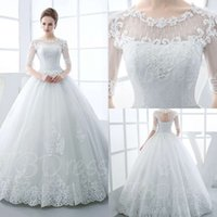 Wholesale 2017 Half Sleeves Scoop Neck Appliques Beading Ball Gown Wedding Dress Dress of Brides Bridal Gowns Plus Size Vintage
