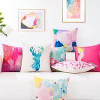 Wholesale Crown parrot Block graffiti circle Maple Leaf Abstract Blue Ink elk modern pop style cotton linen throw pillows case for sofa cushions cover