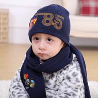 Wholesale 2016 Hot Wool Hat Male Baby Ear Warm Winter Euramerican Children s Hat Scarf Glove Three Piece