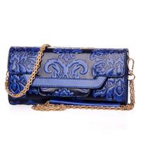 Wholesale Fashion Women leather purse multifunctional desinger lady chain coin purse clutch bag vintage flower embossed hot sale