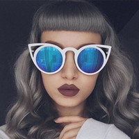 Wholesale Free Delivery Fashion Cat Eye Sunglasses Women Brand Designer Sun Glasses For Ladies Vintage Oculos cateye Mirror Colorful Lens Female RS167
