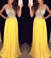 Wholesale Luxurious A line V neck Chiffon Beaded Crystals Yellow Long Women Prom Dresses Prom Gown Evening Dresses Evening Gown