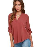aliexpress - for test jintingting aliexpress Wish explosion models fashion V long sleeved chiffon shirt collar