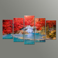 Wholesale 5 Panel Wall Art Paintings Landscaping Waterfall Picture and Red Tree Giclee Print on Canvas for Restaurant Decoration