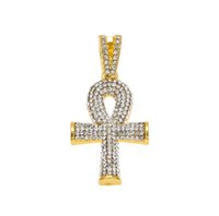Pendant Necklaces ankh pendant - Hip Hop Gold Plated Cross Necklace Mens Full Iced Out Crystal Egyptian Ankh Key of Life Pendant Necklace With Cuban Chain