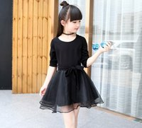 belt pitch - Hot Sell Korean Style Autumn Girls Fashion Black Dress Round Neck Shirt Pitch With Lace Mini Skirt Bowknot Belt Dresses Set Q0472