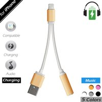 Wholesale 2 in headphone charging adapter for iPhone7 plus converter cable lighting male to mm aux audio and chargng usb cable converter