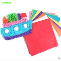 5-7 Years art cardboard - 5 color cm Monochrome Hand Tissue Paper Art Painting Children Handmade Material Stickers Creative Puzzle Toys