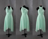 al por mayor vestido de un hombro de la gasa verde-Menta verde gasa corto de dama de honor convertibles vestidos 2016 un hombro mini vestido de novia barata de honor de boda baile vestidos de fiesta vestido