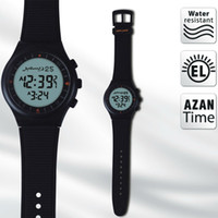 Wholesale Classic Black color Muslim azan watch Russian No Selling for islamic prayer time automatic Azan clock one discount