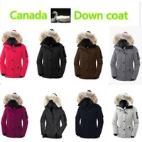 Wholesale 2016 Canada Brand Women outdoor down jacket winter thick warm windproof goose down coat fur collar Parka outdoor against low temperature