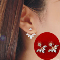 Wholesale 2016 Fashion Earing jewelry Crystal Rose Gold Silver Ear Jackets Jewelry High Quality Leaf Ear Clips Stud Earrings For Women