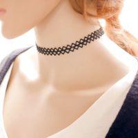 Wholesale harajuku vintage black choker necklace korean handmade simple geometry choker stretch lace classic gothic choker necklaces