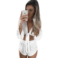 Wholesale White Women Suit Deep Lace V Long Sleeve Blouse Pants Two piece Water soluble Lace Set Skirt