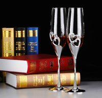 Wholesale 2pcs set Wedding Champagne Crystal Silver Plated Toasting Flutes Long Wine Glasses Cup Diamond Ring for Party Decoration Gift WA1497